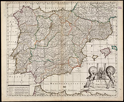 Historic Map | 1690 Spain and Portugal | Antique Vintage Reproduction by historic pictoric