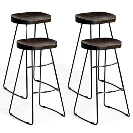 Pleasant Amazon Com Fdinspiration 4Pcs Metal Legs Wooden Saddle Gmtry Best Dining Table And Chair Ideas Images Gmtryco