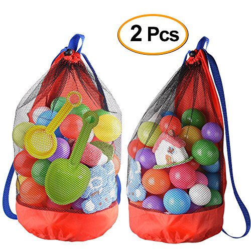 Kuuqa 2 Pcs Beach Mesh Tote Bag Shell Bag Net Bag for Beach Toys and Grocery (Toys not - For Mesh Backpacks Sale