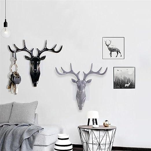 Amazon.com: Vintage cabeza de ciervo cuernos Gancho de pared ...