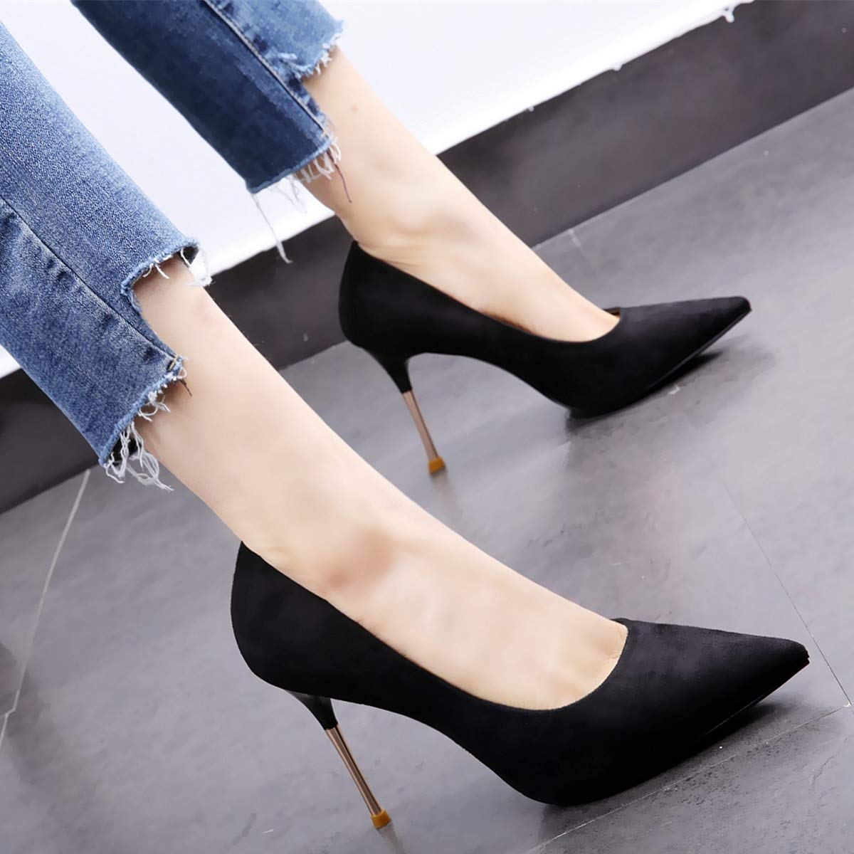 HOESCZS 2019 Spring and Autumn New Pointed schuhe Metal with Stiletto Heels Single schuhe schwarz Female Work schuhe