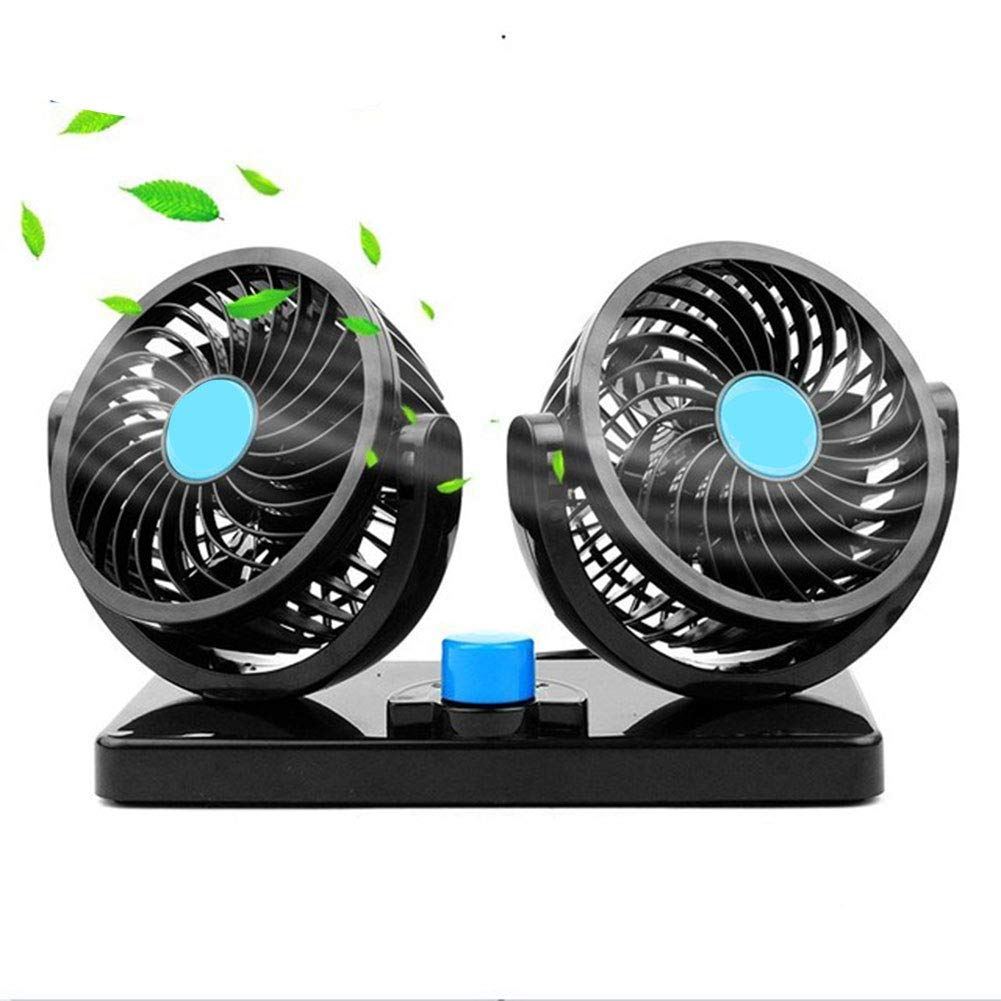 EJHNZSE 2 Gears Adjustable Cooling Dual Heads 12V Mini Electric Car Fan Low Noise Summer 360 Degree Rotating
