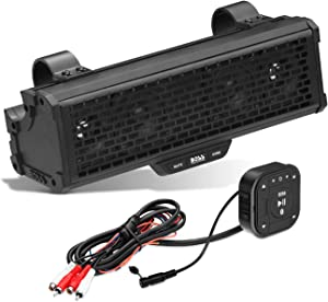 BOSS Audio Systems BRRC14 14 Inch ATV UTV Sound Bar - IPX5 Weatherproof, 3 Inch Speakers, 1 Inch Tweeters, Built-in Amplifier, Bluetooth, Built-in Dome Lights, Easy Installation for 12 Volt Vehicles