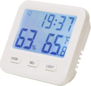 Belisomic Digital Hygrometer Indoor Temperature and Humidity Meter LCD Display with Alarm for Home