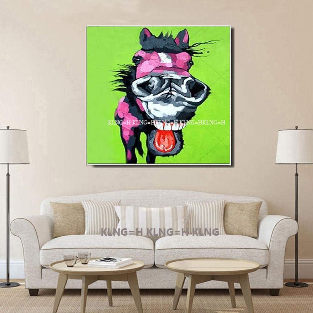 famoso pintor lienzo pintura caballo cuadros pintura al óleo abstracta encantadora pony arte de la pared para la decoración de la oficina decoración de la pared del hogar hecho a mano-60x60CM_Kin