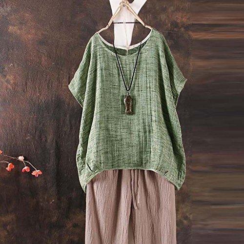 Coton Rouge T Shirt Manches Vert Carolilly Taille Courtes Et Lin et Femme Vert Kaki en Lache Grande 7OUd1wq