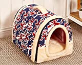 Multifuctional Warm Fleece Soft Removable Dog House Nest with Mat Foldable Pet Dog Cat Bed House for Small Medium and Large Dogs (S, England design)