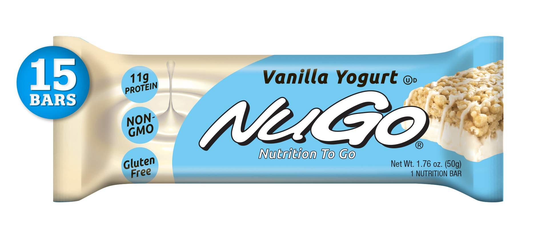 NuGo Protein Bar,Vanilla Yogurt, 11g Protein, 170 Calories, Gluten Free, 15 Count by NuGo