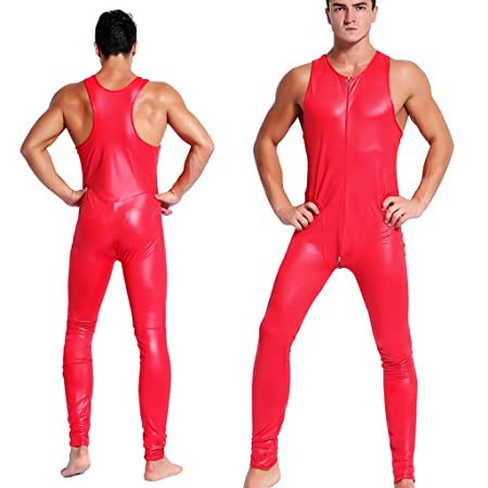 aac03521cf8 HSTV Latex Catsuit Sexy GAY Men s Bondage Fetish Costumes Stretch PVC Look  Latex Spandex Bodysuit