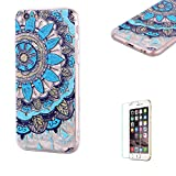 Funyye Crystal Rubber Case for iPhone 6,Luxury 3D Blue Mandala Design Slim Fit Flexible Soft Silicone Gel TPU Case for iPhone 6S,Anti Scratch Durable Shell Bumper Back Protective Case for iPhone 6/6S + 1 x Free Screen Protector