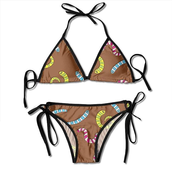 Lombriz de Fondo Bikini Sexy para Mujer Conjunto Traje de baño Traje de baño Triángulo Traje de baño Trajes de Dos Piezas: Amazon.es: Ropa y accesorios