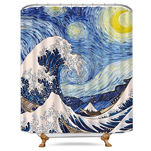 Riyidecor Starry Night Shower Curtain Sea Wave Metal Hooks 12 Pack Yellow Moon Whirlpool Star Van Gogh Fabric Bathroom Set Polyester Waterproof 72x72 ()