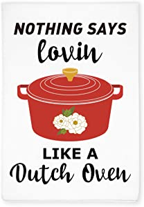 Funny Dutch Oven Kitchen Hand Flour Sack Dish Towel, Home Kitchen Farmhouse Decor, Gift for Cooking Lover, Chef, Hostess, Friends, Family, Housewarming, Wedding, Birthday, Christmas, Thanksgiving