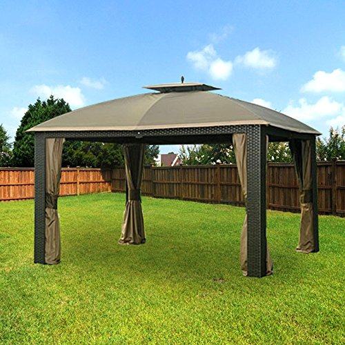 Garden Winds LCM1201BCN-RS Riviera Wicker Gazebo RipLock 350 Replacement Canopy and Netting, Beige