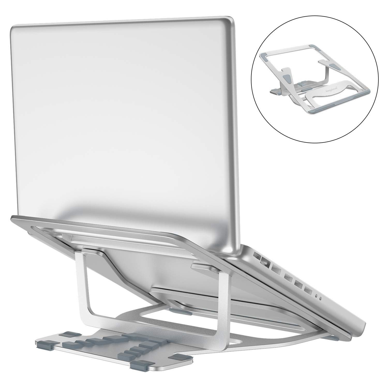 Adjustable Laptop Stand, Megainvo Foldable Laptop Stand Portable MacBook Riser Aluminum Alloy Ventilated Holder 5-Angle Adjustable for 9.7-17 Inch Notebook MacBook Computer PC iPad Tablet