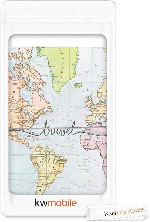 kwmobile Set de 1x fundas protectoras de pasaporte - Protectores de pasaporte con diseño 3D mapa mundial - Con espacio para tarjetas: Amazon.es: Oficina y papelería