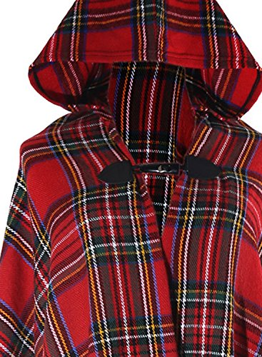 futurino de esquí para mujer Floral Jacquard cuadros con capucha Poncho Cape Light Coverup Rojo oscuro