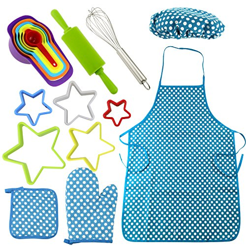 Spoon Costume Set (Gifort 17 Pcs Kids Chef Set, Cooking Dress Up Role Play Kit Costume Set With Apron,Chef Hat and Cooking accessories For Girls (Blue))