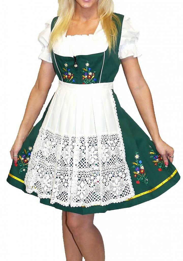 Dirndl Trachten Haus 3-Piece Short German Wear Party Oktoberfest Waitress Dress 6 36 Green