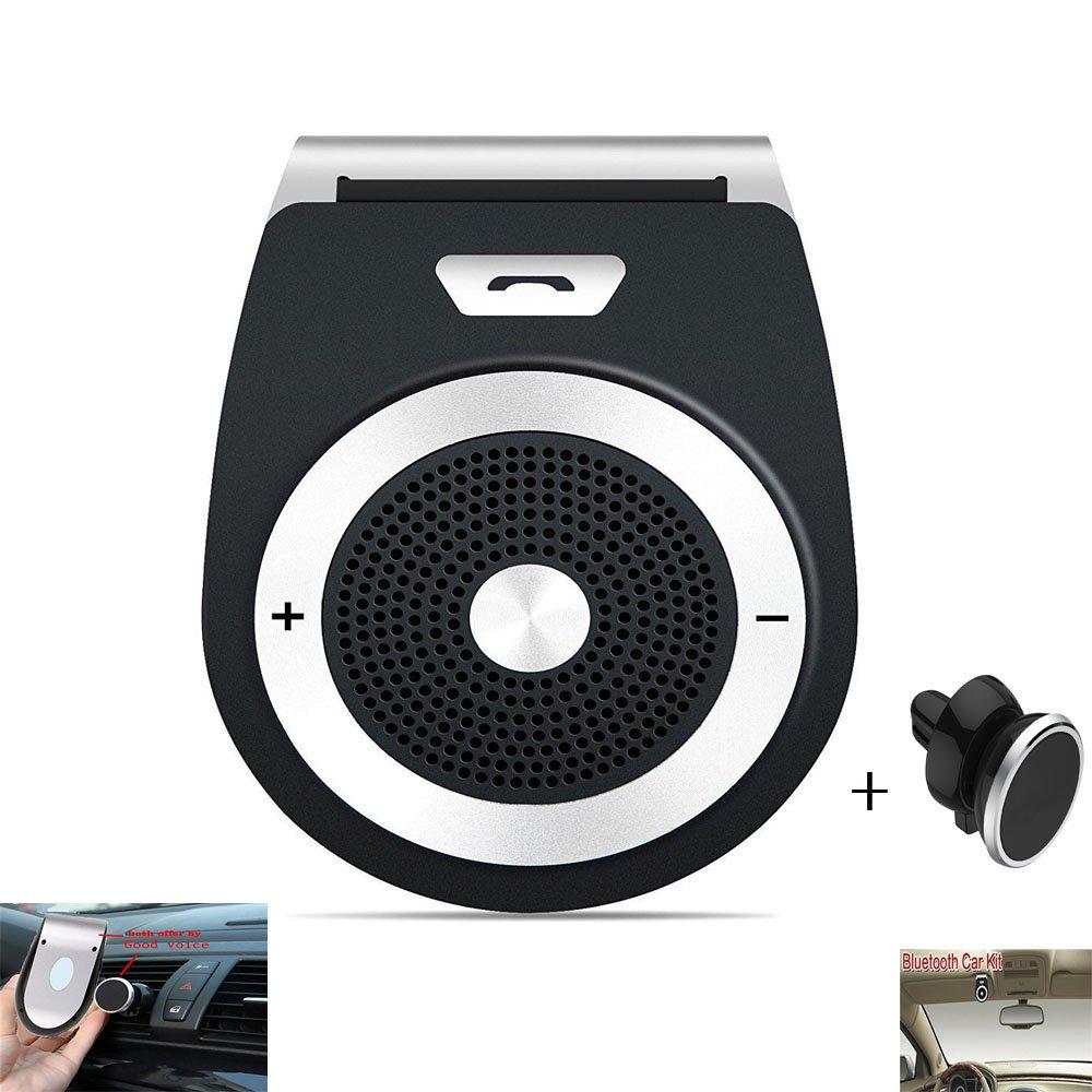 Bluetooth Car Speaker Handsfree Car Visor Speakerphone Bluetooth Phone Speaker for Car Wireless Bluetooth In-car Speakerphone Stereo Music Player with Magnetic Phone Car Mount Holder Car Kit (Black)