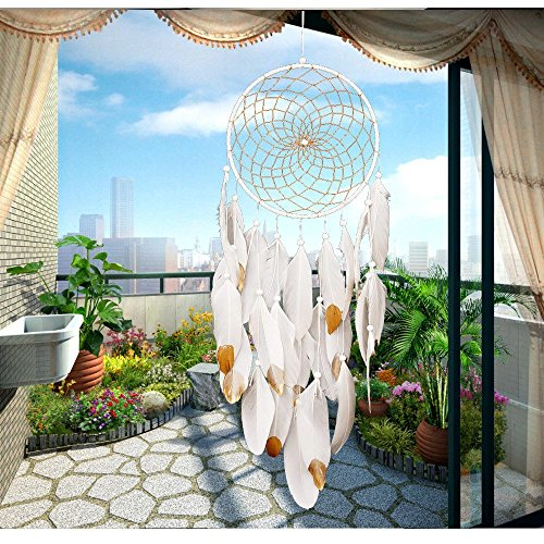 "Handmade Dream Catchers,White and Gold Feather Decoration for Christmas Wedding Party- Diameter 7.9"" Length 27~29"""
