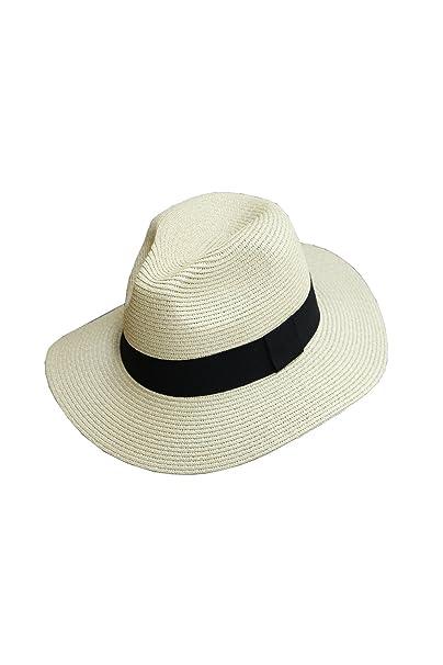 ByTheR Men s Basic Round Ribbon Panama Straw Mountain Fedora Summer Beach  Hat Beige 1bfbbbfe339