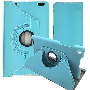 GlobalShop2016® - Funda giratoria 360º para tablet BQ Edison 3 Mini (Funda + Protector + Stylus, Azul)