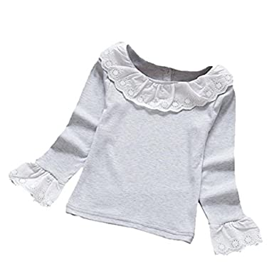 1e06f93a For 2-6 Years Old Girls Clothes, Internet Baby Girls Ruffled T-Shirts Lace  Tops Blouse (4-5 years old, Grey): Amazon.co.uk: Clothing