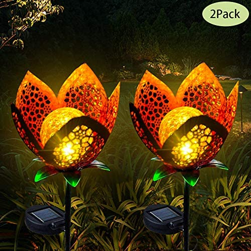 Luxbox Solar Lights Outdoor Decorative for Waterproof IP65 Garden Automatically Illuminates Working 8 Hours Yard Decoration 2 Pack