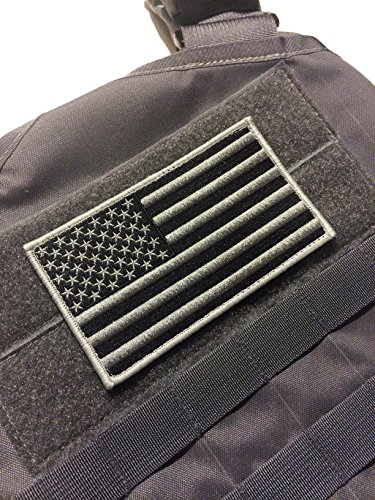 Large 3x5 Inch Black and Wolf Grey Color Tactical Us USA Flag hook/loop Patch