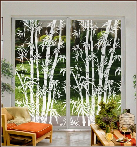 Big Bamboo Etched Glass Window Film 24 in x 78 Right ()