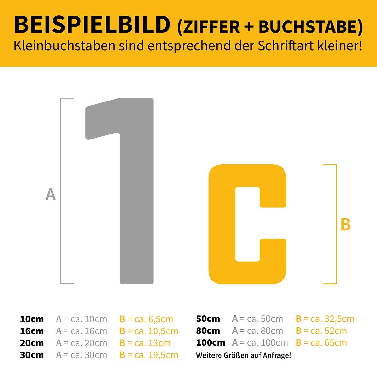 6 anthrazit pulverbeschichtet Thorwa/® moderne Design Edelstahl Hausnummer Future Stil RAL 7016 H: 200mm