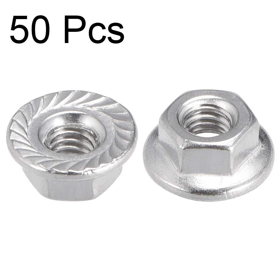 304 Stainless Steel 4 Pcs uxcell M10 Serrated Flange Hex Lock Nuts