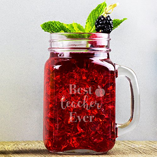 customgift Best Teacher Ever 16 Ounce Novelty Glass Mason Jar, Gift for ()