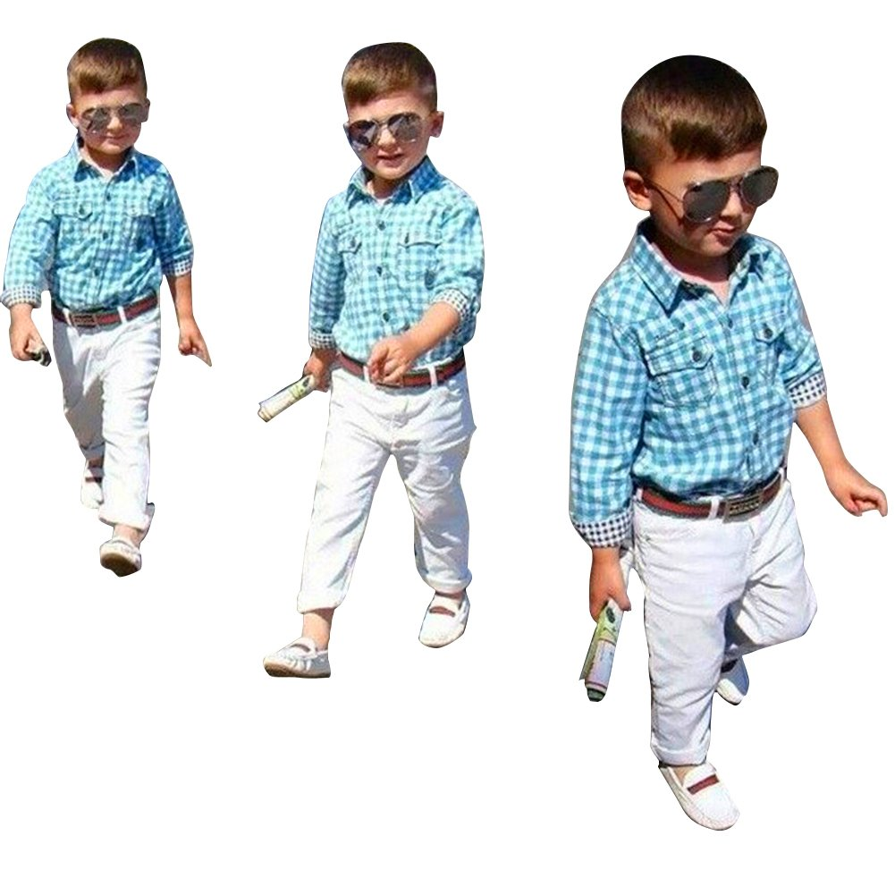 Evelin LEE Kid Boy Clothes 3 Set Blue Long Sleeves Plaid Shirt Pants Belt Suit