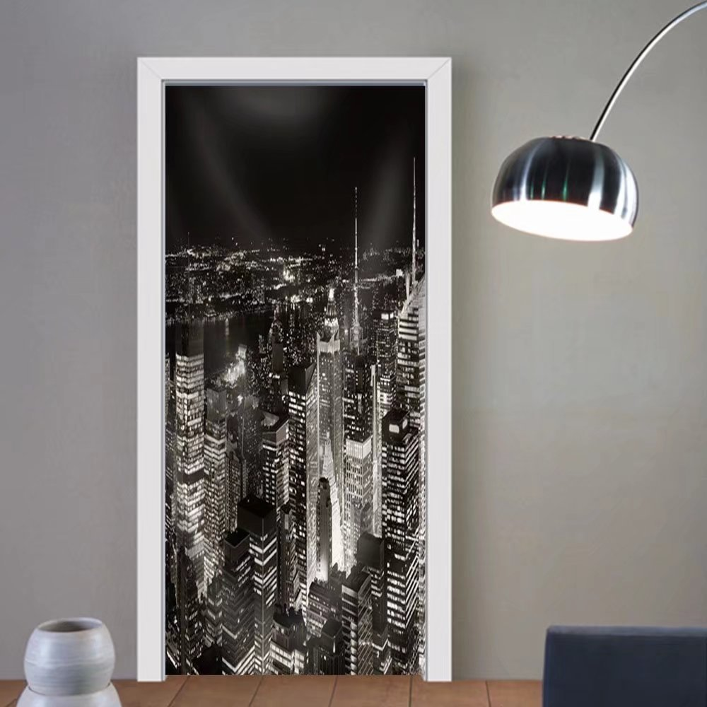 Niasjnfu Chen custom made 3d door stickers New York City Midtown Skyline Panorama with Skyscrapers and Urban Cityscape at Night. Fabric Home Decor For Room Decor 30x79