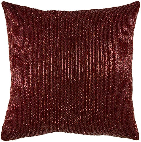 red throw pillow -  Burgundy Decorative Pillow With Beaded