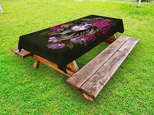 Lunarable Makeup Outdoor Tablecloth, Calavera Day of The Dead Mexican Sugar Skull Faced Woman with Floral Head Halloween, Decorative Washable Picnic Table Cloth, 58 X 120 inches, -