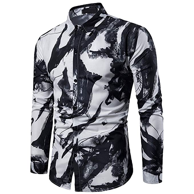 293aa1d95 Mens Printed Shirt Long Sleeve Slim Fit Button Down Dress Shirts Casual  Stylish (Water Ink