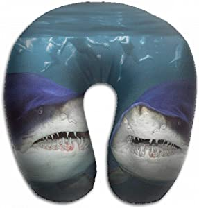Emvency U-Shaped Travel Neck Support Pillow Two Sharks Have Fun Attack Airplane 12x11.5 Inch Soft U-Pillows with Rebound Material for Kids Adults