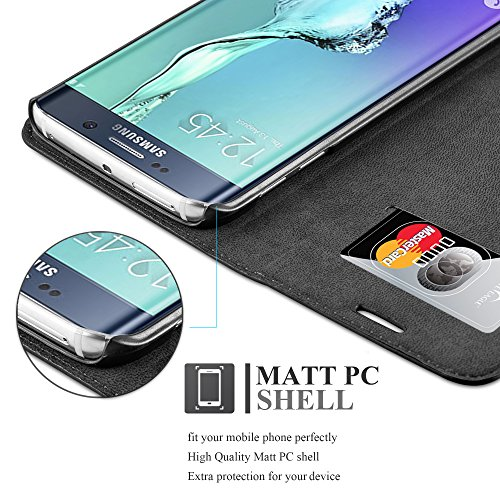 Cadorabo - Funda Book Style Cuero Sintético en Diseño Libro Samsung Galaxy S6 EDGE (G925F) - Etui Case Cover Carcasa Caja Protección con Imán Invisible en TURQUESA-PETROL NEGRO-ANTRACITA