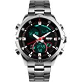Bozlun Men's Chronograph Stainless Steel Bracelet Watch with Water Resistance 3 ATM Dual Time Display Stopwatch Auto Date Digital Wristwatch …