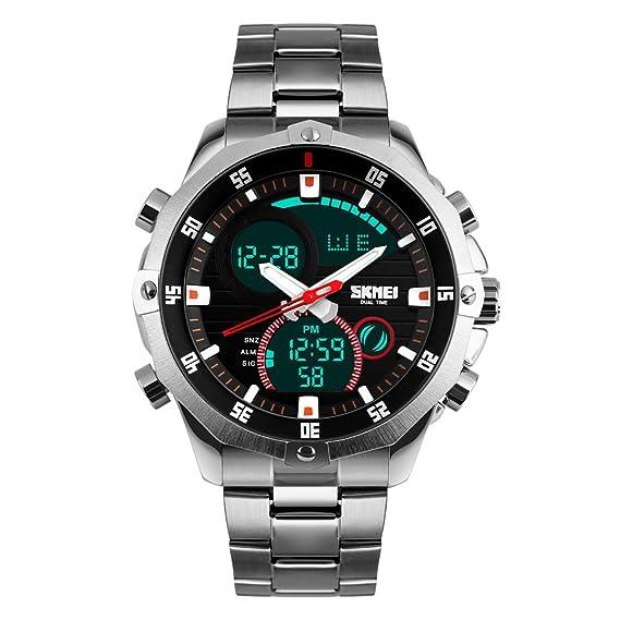 Reloj de pulsera cronógrafo de Bozlun, digital, de acero inoxidable, resistente al agua 3 ATM, pantalla con doble indicación horaria, fecha automática: ...