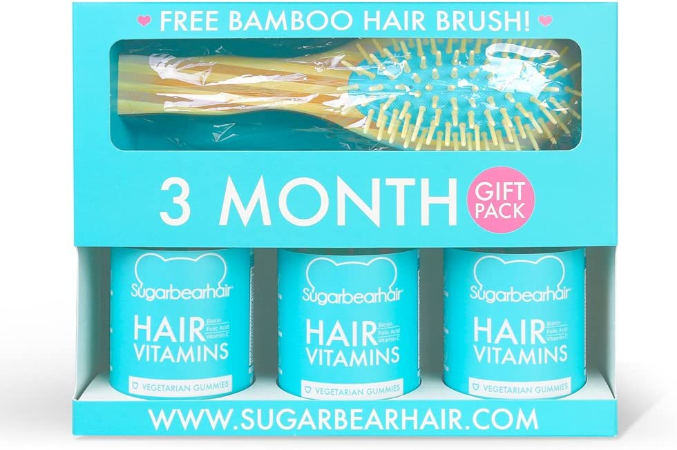 SugarBearHair Vitamins 3 Month Gift Pack Free Brush