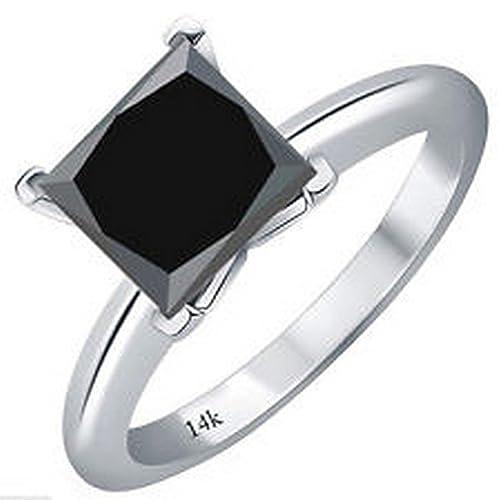 1/2 - 5 Carat Total Weight Princess 18K White Gold Black Diamond Ring (AAA Quality)