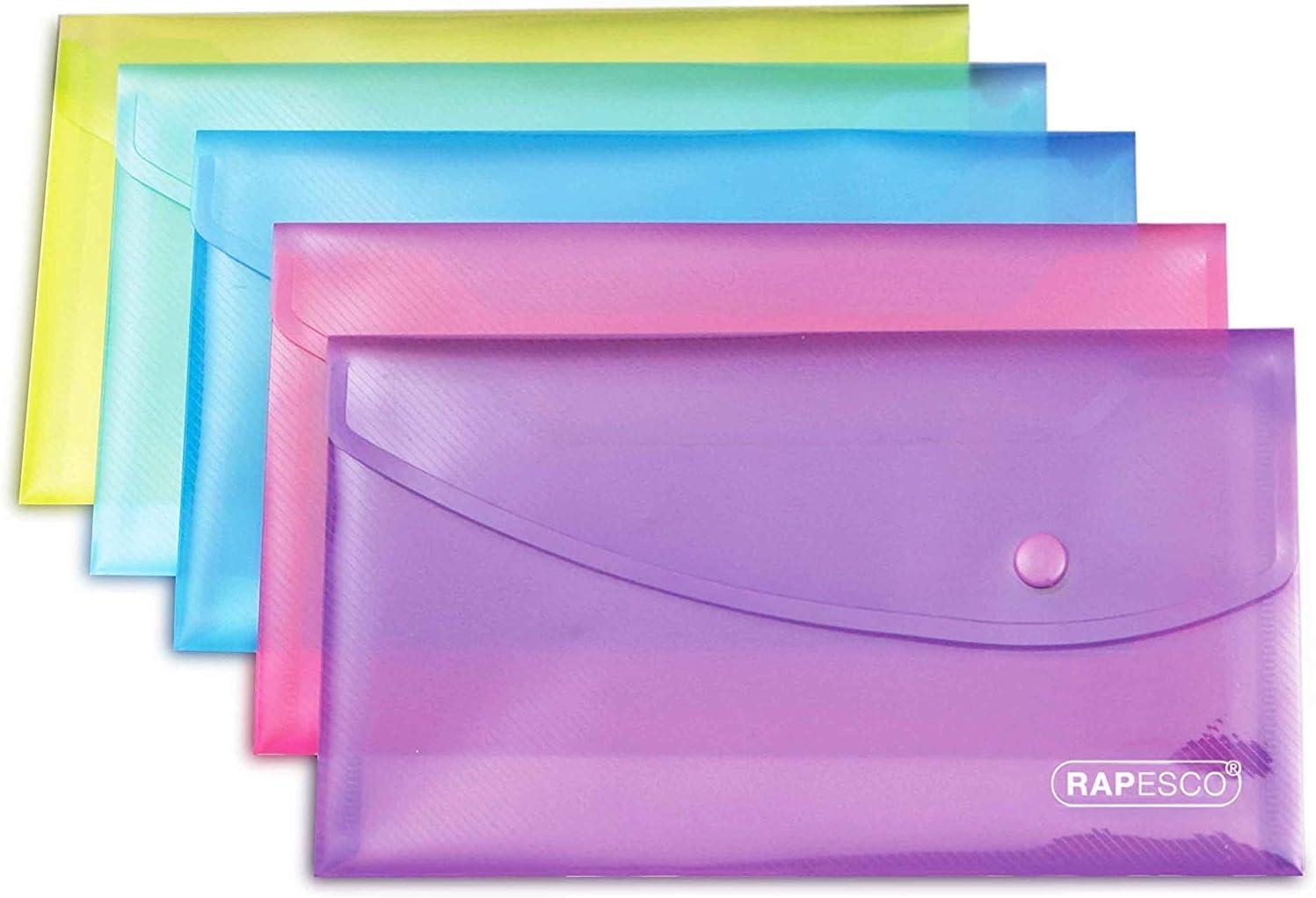 Rapesco Documentos - Carpeta portadocumentos tamaño sobre, colores variados, 5 unidades
