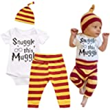 Mefarla Snuggle This Muggle Baby Boys Girls Romper Pants Hat Outfit Set Clothes