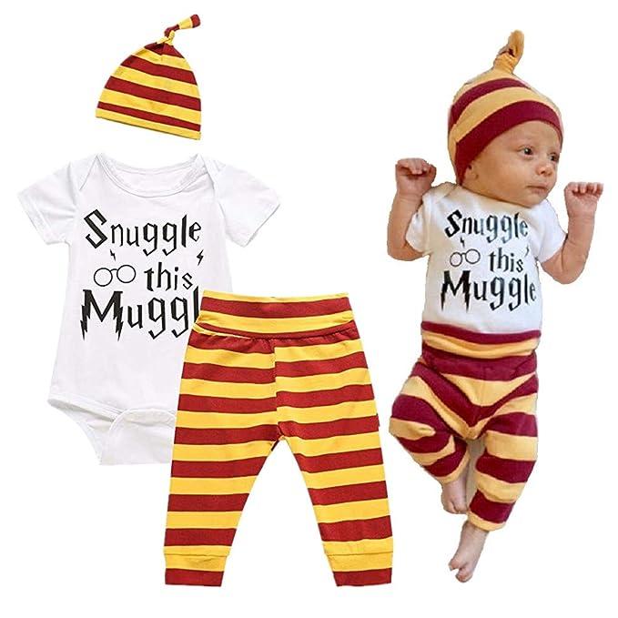 f82d7d6289199 Mefarla Snuggle this Muggle Baby Boys Girls Romper Pants Hat Outfit Set  Clothes