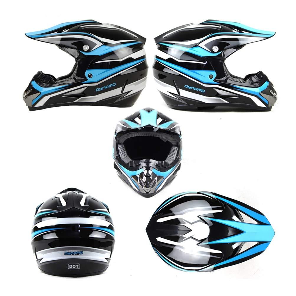 5 Pcs//Noir et Bleu MRDEAR Casque Motocross Enfant Casque VTT Integral Set Casque BMX Quad Enduro ATV Scooter Femme Homme Casque Moto Cross//Goggle//Gants//Masque//Filet /à Elastique
