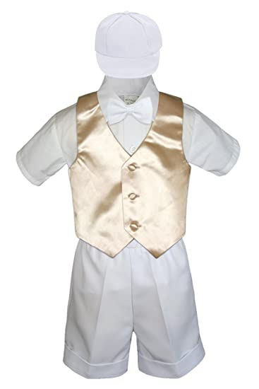 S: 5pc White Baby Little Boy Christening Baptism Shorts Vest Set Hat S-4T 0-6 months
